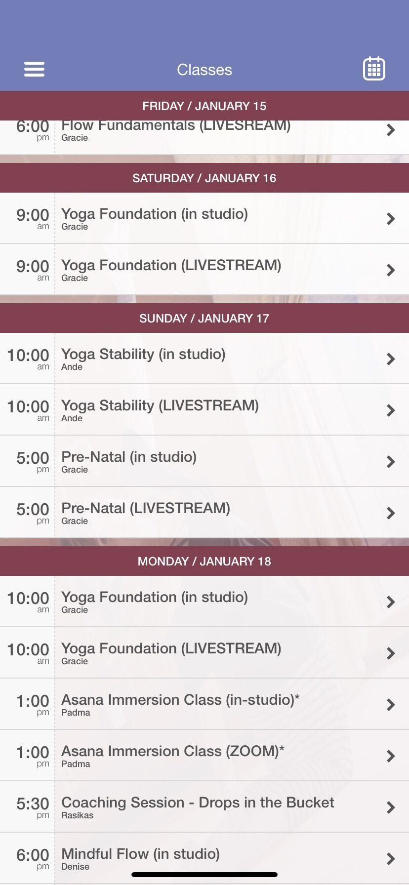 screenshot of livestream yoga classes regiatration