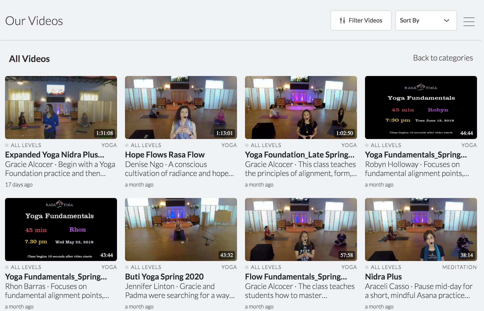 screenshot ot on-demand yoga classes