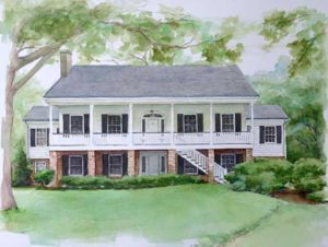Greene Family Home in Pen and Watercolor