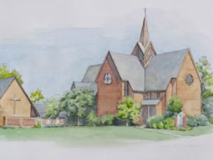 St. Christopher's Church in Pen and Watercolor