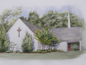 St. Georges Church in Pen and Watercolor
