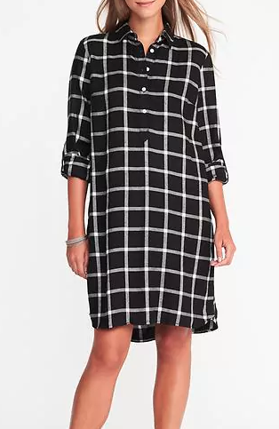 Old Navy Plaid Pullover Shirt Dress for Women