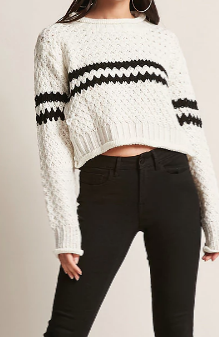 Forever 21 Stripe Cropped Sweater
