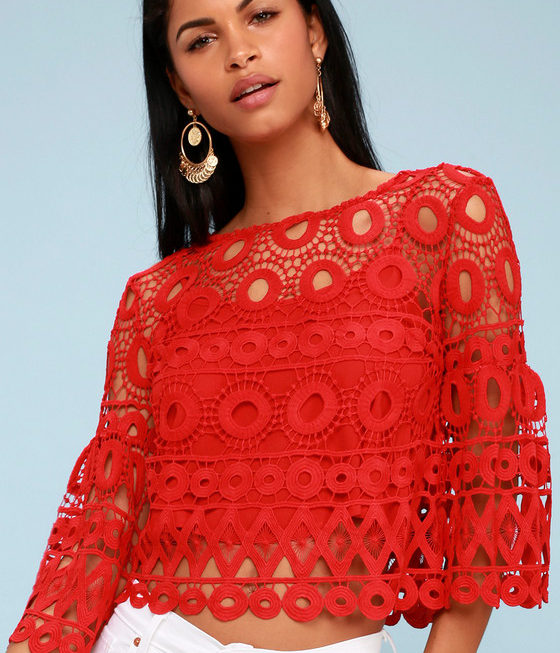 LULUS NEARNESS OF YOU RED CROCHET CROP TOP