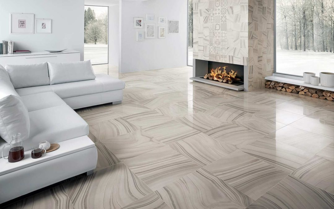 Living Space with Ceramic Tile Floors