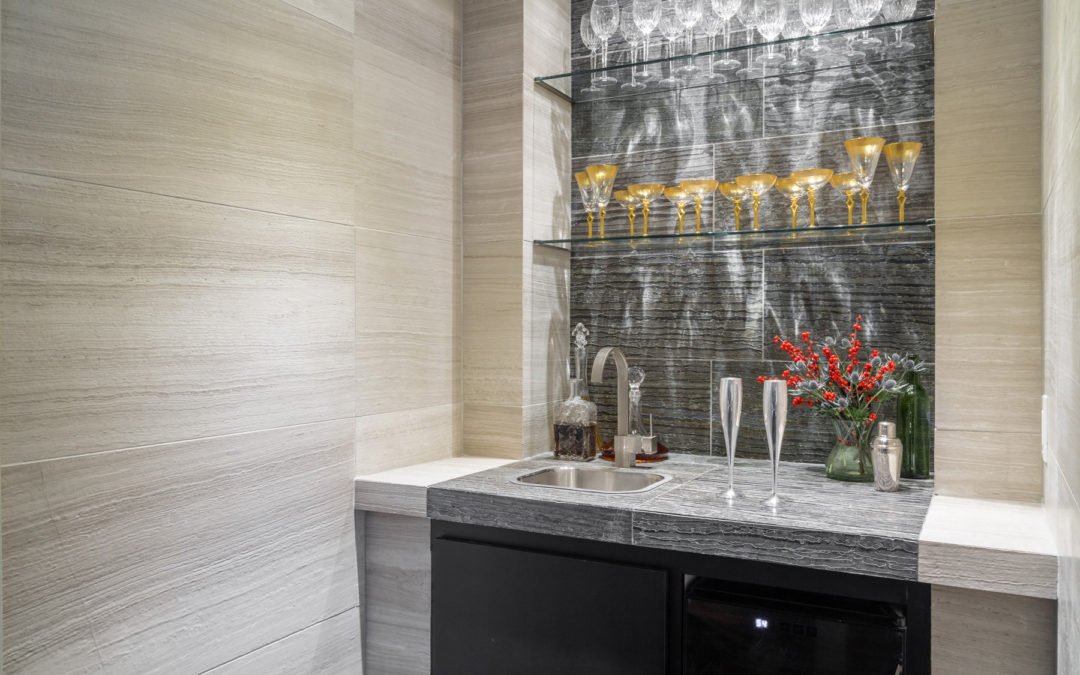 Wet Bar Area with Tile details