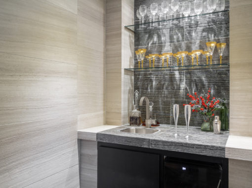 Wet Bar Area with Tile details