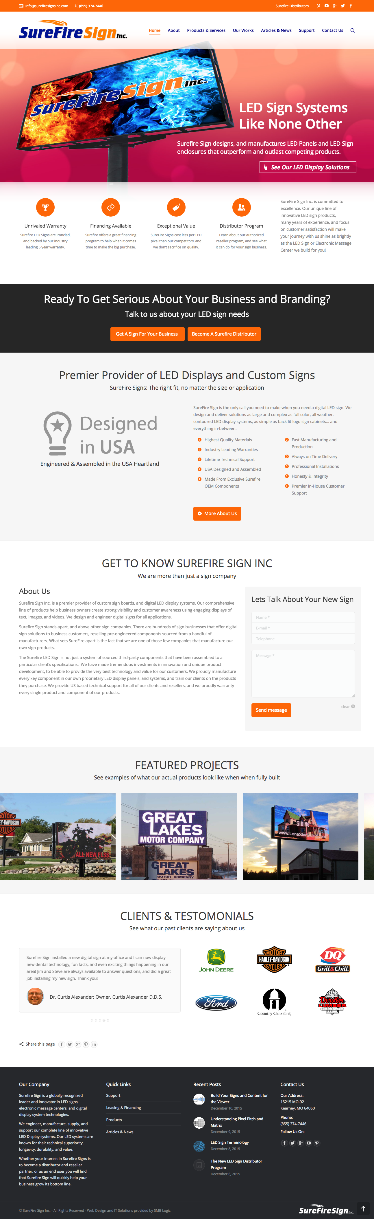 full page screen grab of surefire sign home page