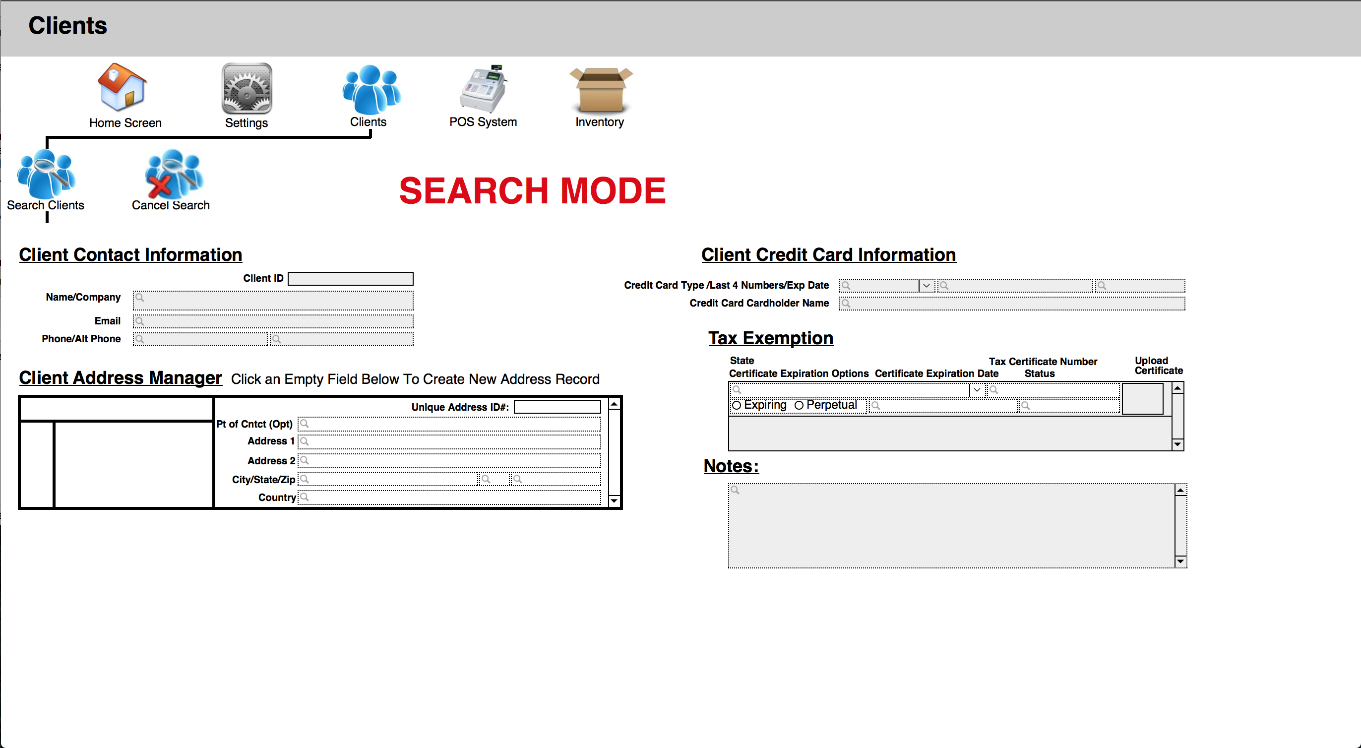 Client Search Screen Grab from Custom CRM/Inventory Management System