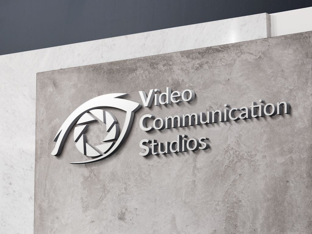 Video Communications Studios Logo on granite wall