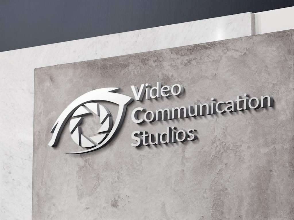 Video Communications Studios Logo on granite wall