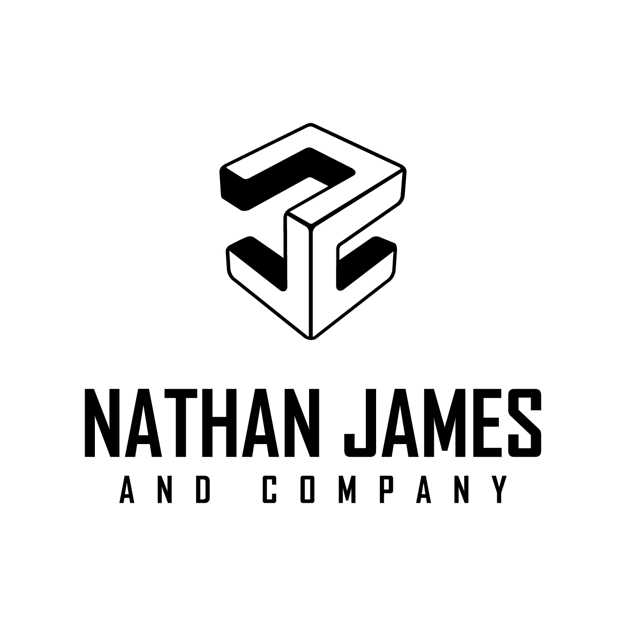 Black and white light logo variant for Nathan James and Company
