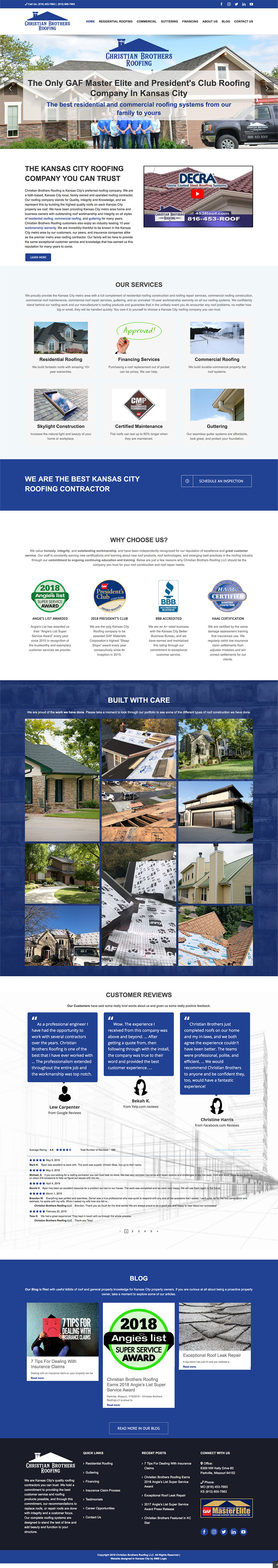 christian brothers roofing full homepage screen grab