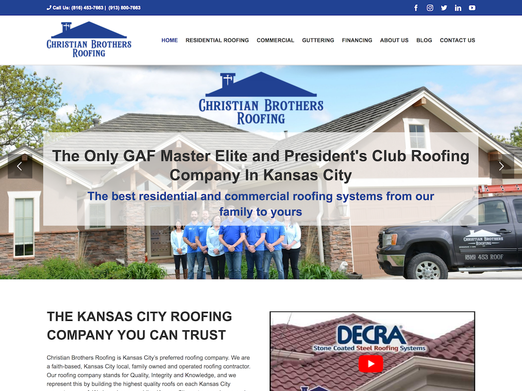 Christian Brothers Roofing Website limited screen grab