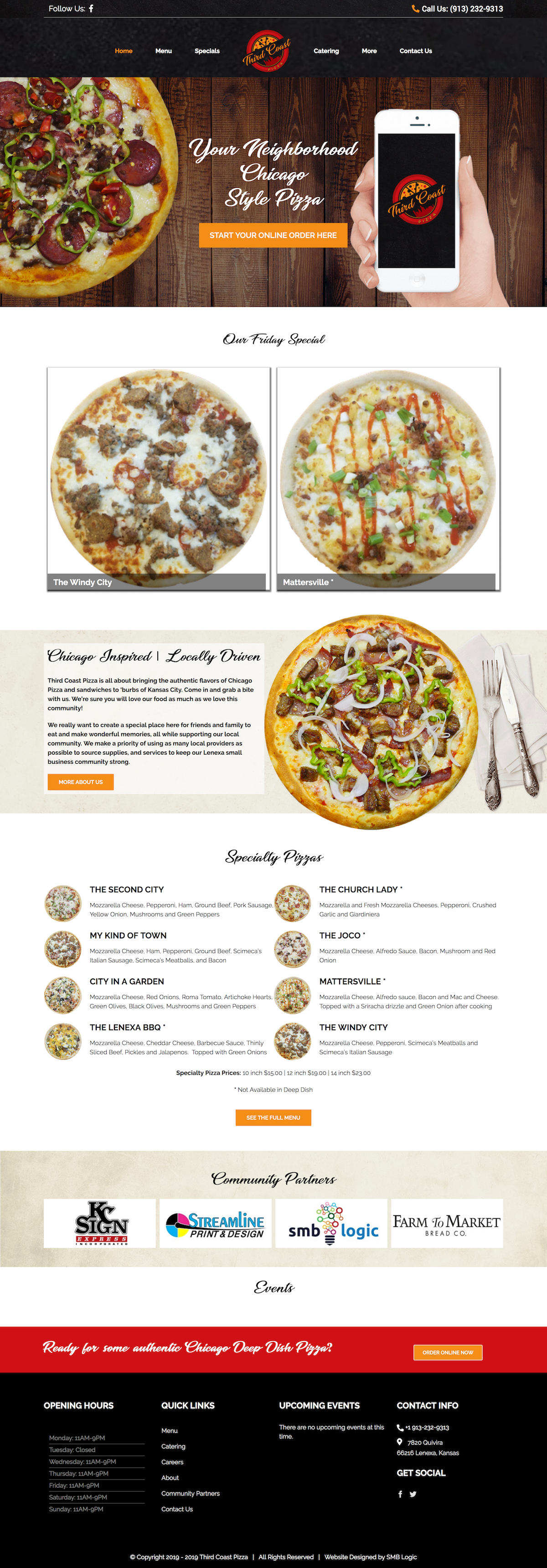 Home Page Screengrab of The Website SMB Logic Designed for Third Coast Pizza