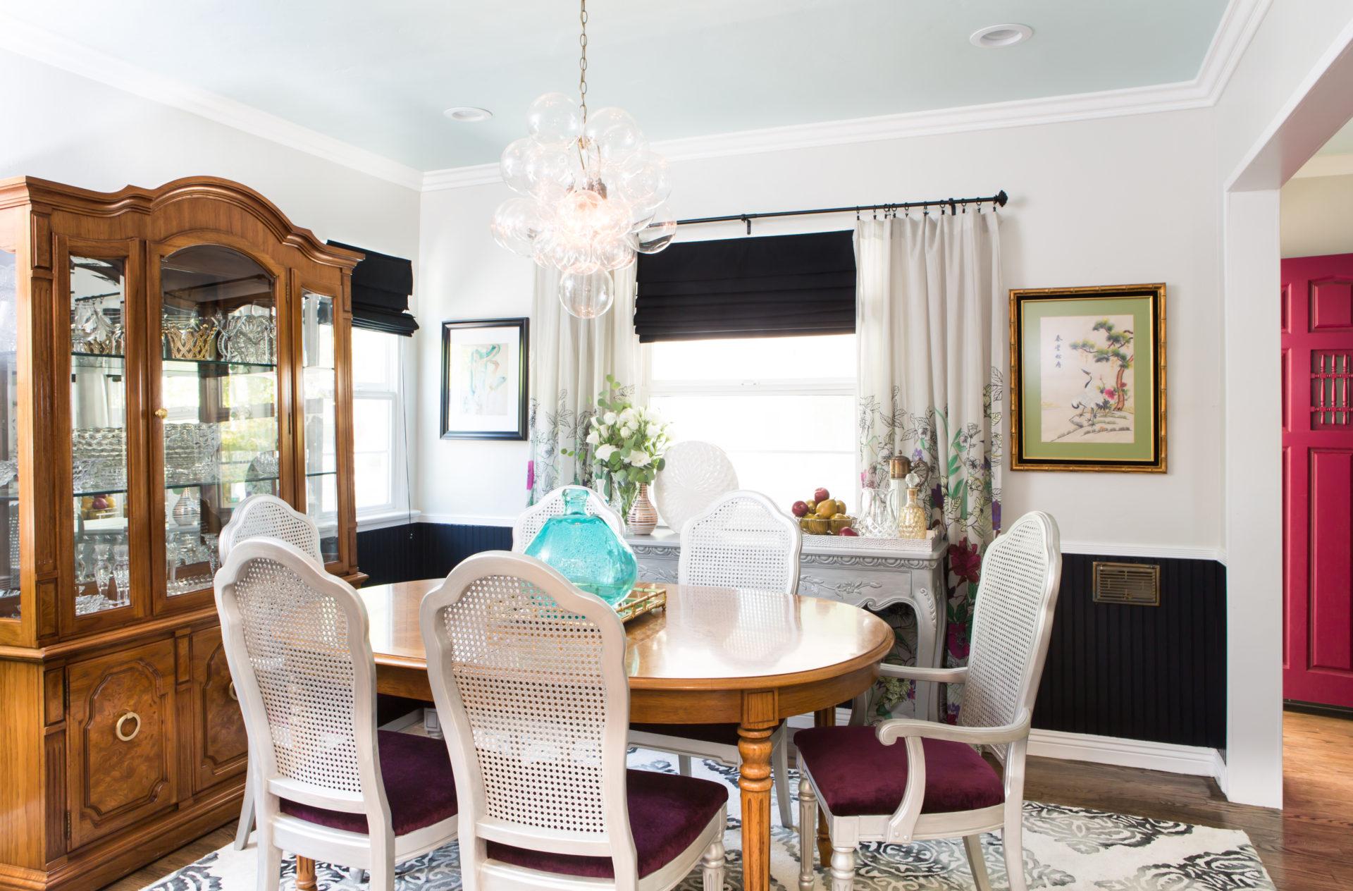 dining room, colorful, magenta, purple, bubble chandelier, light, vintage furniture, dining set