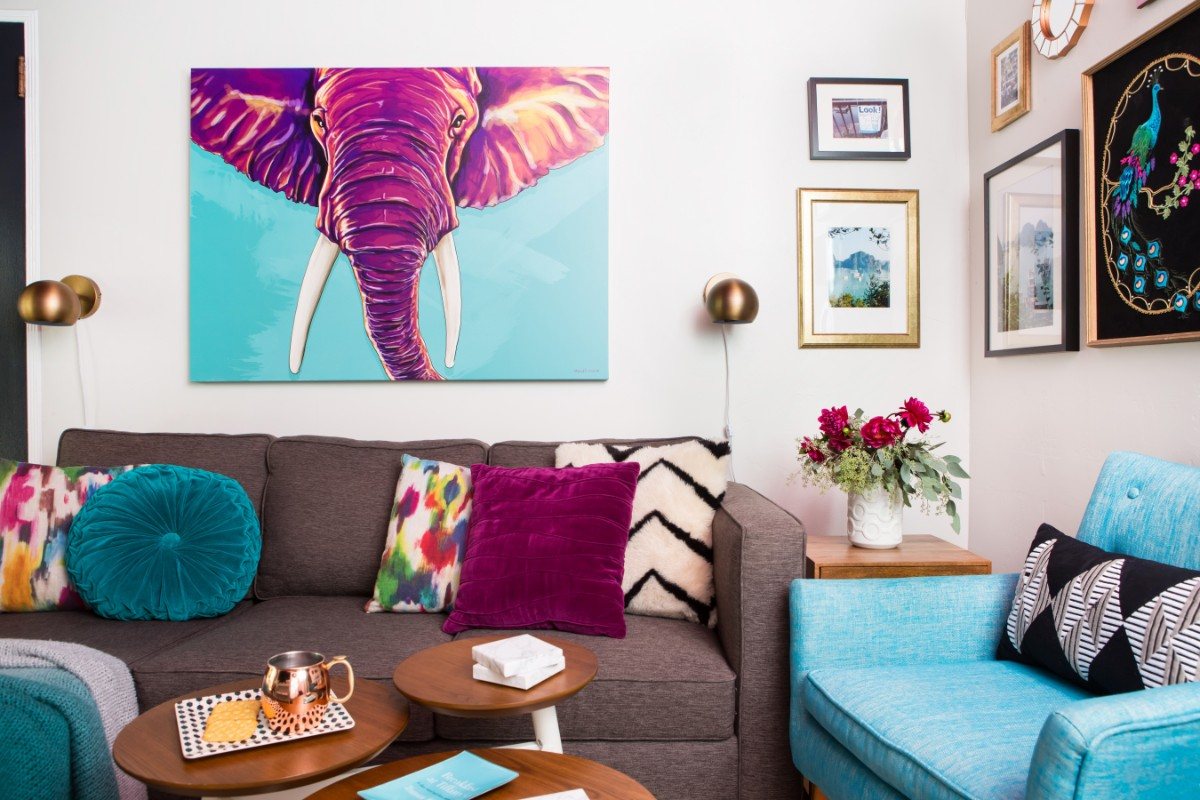 magenta, colorful, living room, den, turquoise, eclectic, color, interior design, Marilynn Taylor, Mercedes, pasadena