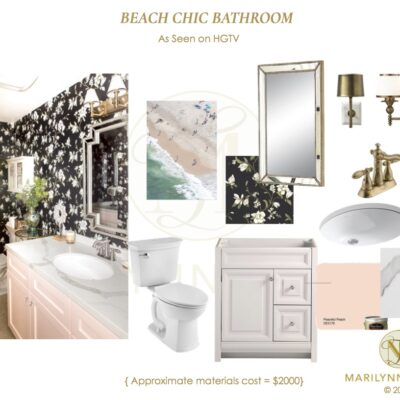 hgtv, floral, black wall, bathroom, blush, feminine, house hunters renovation, Marilynn, Marilyn, property sisters, wallpaper, contrast, black and white, design plan, mood board, vision board