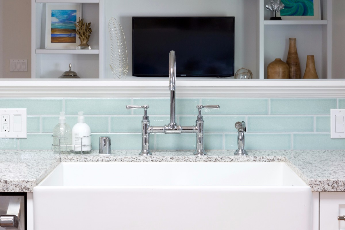 beach cottage, white kitchen, manhattan beach, kitchen design, blue tile, seafoam green tile, butcher block countertop, ocean, nautical, beach bungalow, southern california, los angeles, interior designer, kitchen faucet, bridge faucet