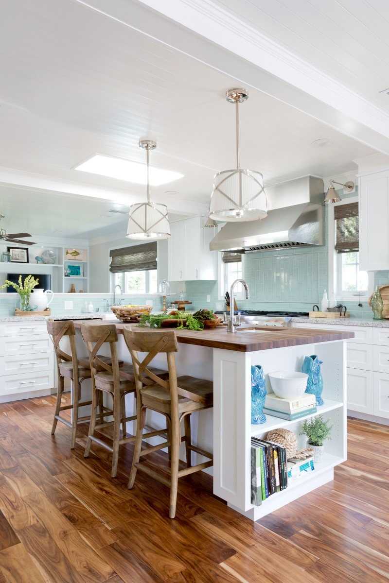 beach cottage, white kitchen, manhattan beach, kitchen design, blue tile, seafoam green tile, butcher block countertop, ocean, nautical, beach bungalow, southern california, los angeles, interior designer