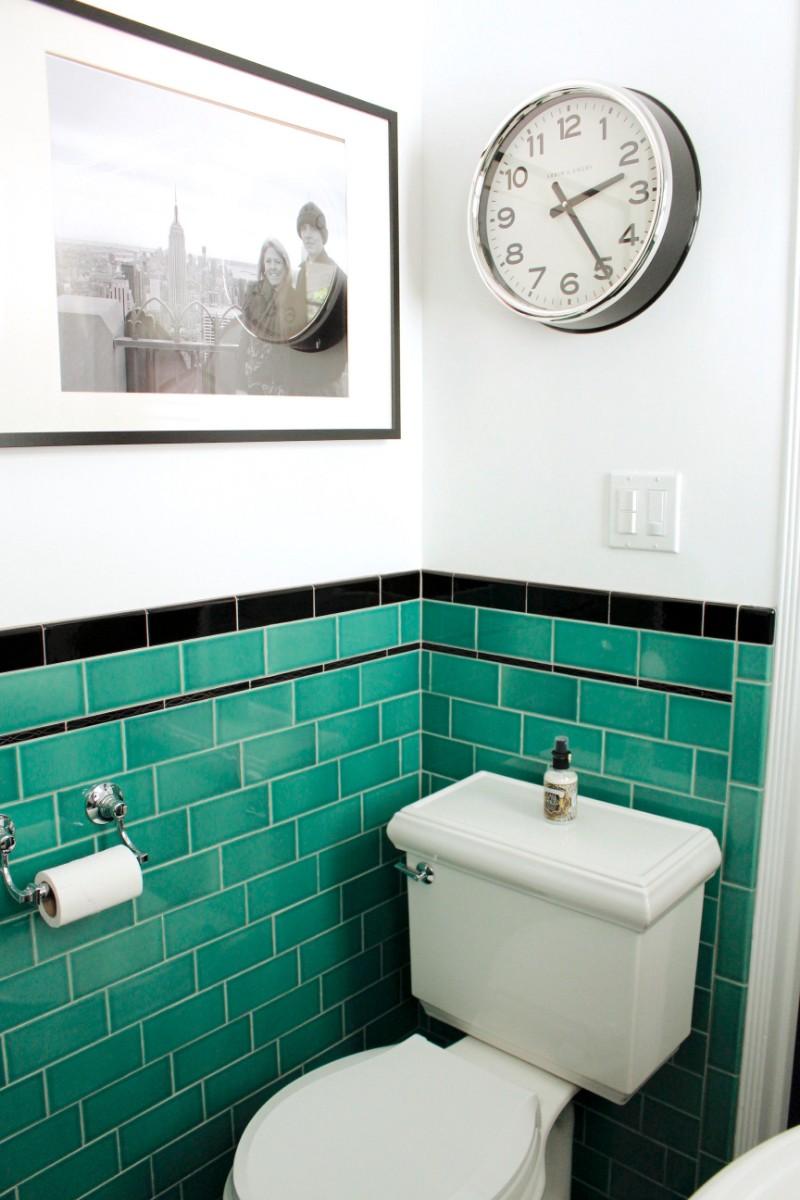 green bathroom, tile, vintage, 1920's, black hex, floor