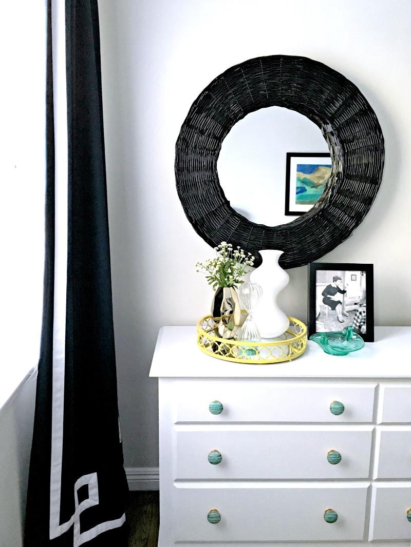 pasadena, bedroom, navy, green, gold, vintage, bedroom