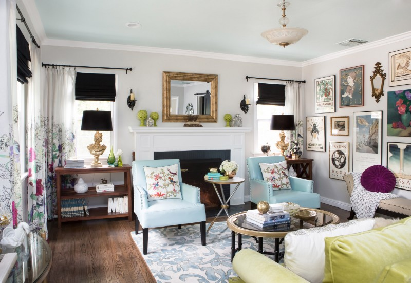 Marilynn Taylor, colorful living room, turquoise, art wall, black, green, color, vintage