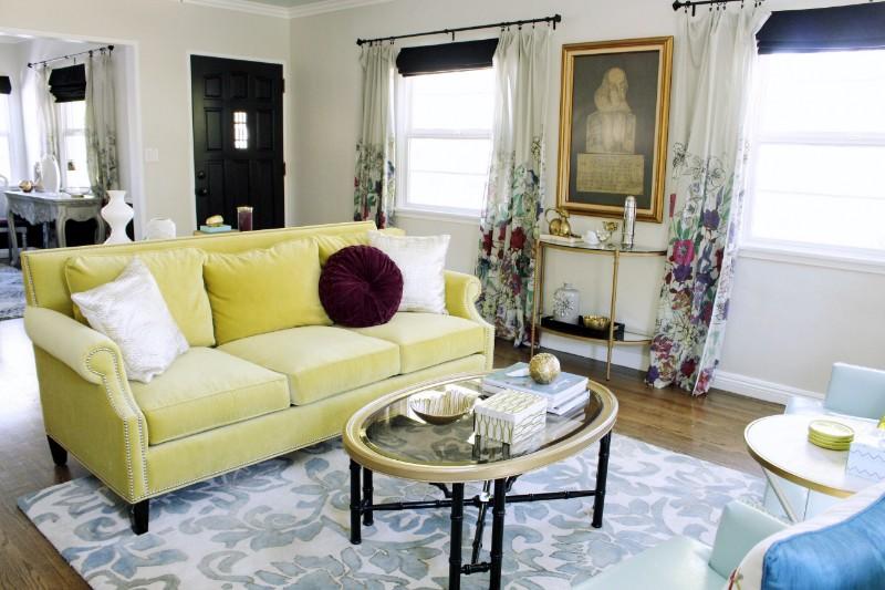 green velvet sofa, colorful living room, Marilynn Taylor, los angeles, Pasadena, vintage furniture, DIY design