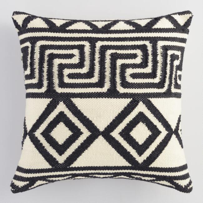 Black and Ivory Geometric Key throw pillow   Marilynn Taylor BnB