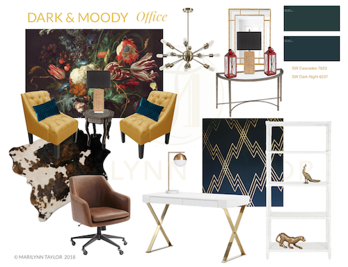 dark & moody, office makeover, one room challenge, floral, mural, wallpaper, saturated, black walls, office, floral, sophisticated, Marilynn Taylor, Orange county, interior designer, consultant, shop the look, get the look, mood board, design plan