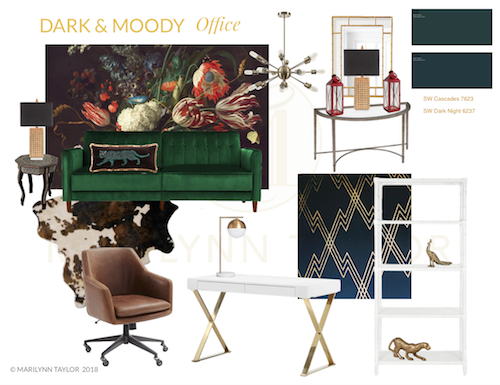 dark, moody design plan, dark & moody, office makeover, one room challenge, floral, mural, wallpaper, saturated, black walls, office, floral, sophisticated, Marilynn Taylor, Orange county, interior designer, consultant, shop the look, get the look, mood board, design plan