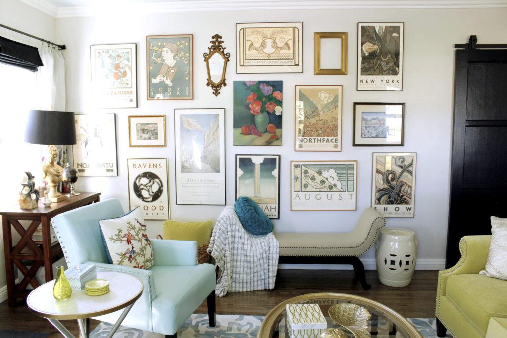 art wall, hang an art wall, mercedes, hollywood regency, vintage art, art collection