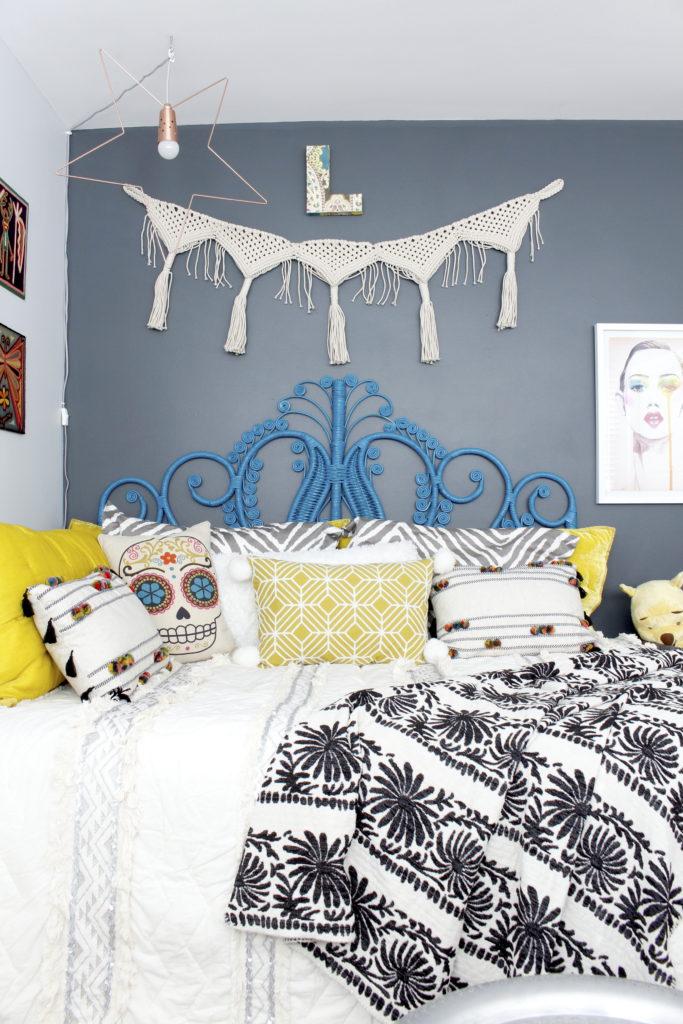 Marilyn Taylor, Marilynn Taylor, bohemian, boho, bedroom, teenager, teen decor, interior design, Target, Opalhouse, boho, World Market, Peacock headboard, rattan