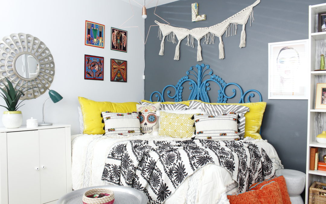 Marilyn Taylor, Marilynn Taylor, bohemian, boho, bedroom, teenager, teen decor, interior design, Target, Opalhouse, boho, World Market, Peacock headboard, rattan