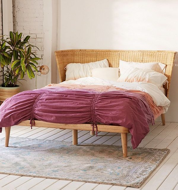 rattan bed, bohemian, boho bedroom, Marte, Urban Outfitters
