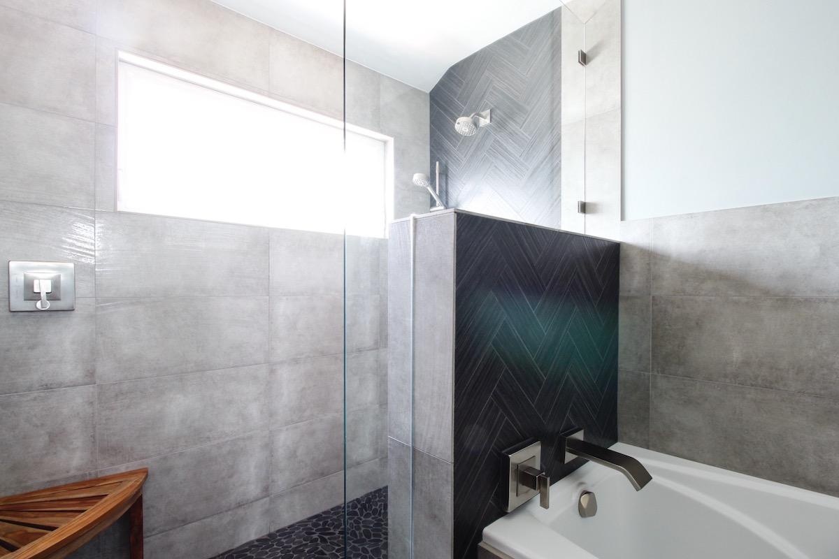 modern bathroom, contemporary, tile, concrete, walnut, Marilynn Taylor, property sisters, Los Angeles, black hex tile
