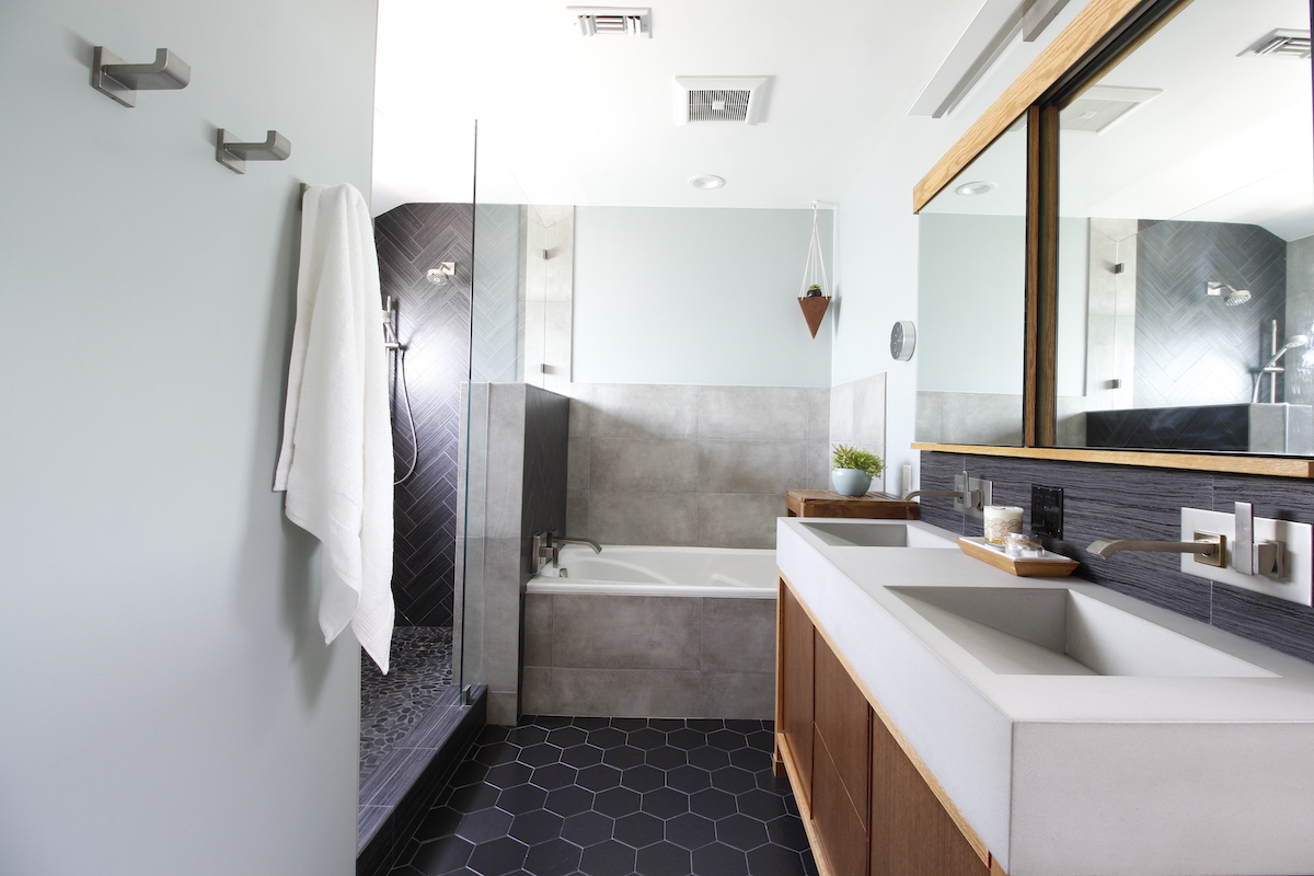 modern bathroom, contemporary, tile, concrete, walnut, Marilynn Taylor, property sisters, Los Angeles, black hex tile