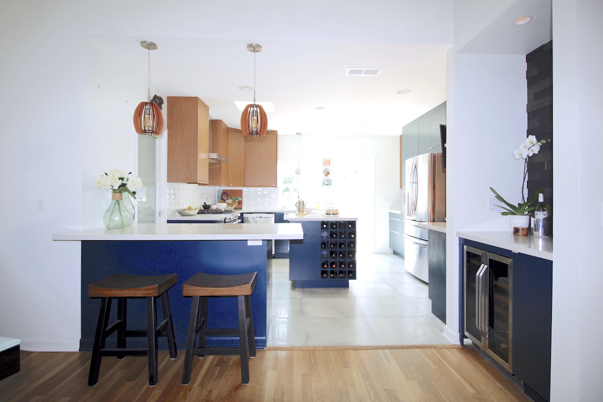 contemporary kitchen, kitchen design, navy cabinets, mixed materials, modern, Los Angeles, Marilynn Taylor, Property Sisters, walnut, semihandmade