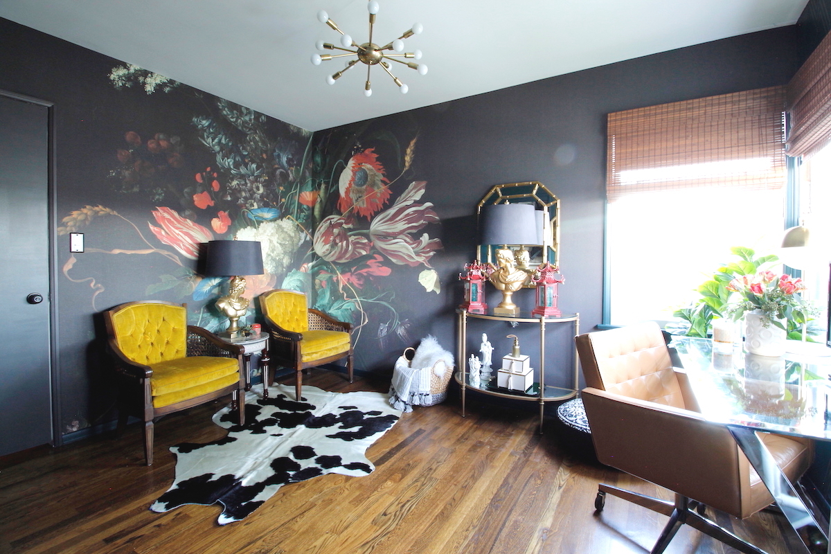 Dark, moody, office, maximalism, floral, wallpaper, one room challenge, dark paint, stencil, Marilynn Taylor, house beautiful