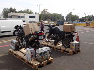 Bikes are prepared to leave for Miami