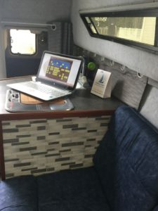 inside the boat cabin cruiser tutoring center wit hlap top on counter