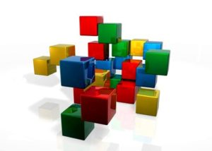 3d abstract colored translucent blocks