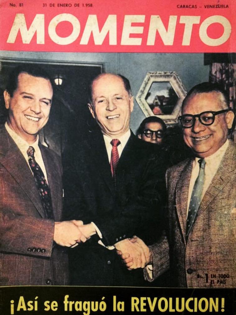 Rafael Caldera, Jóvito Villalba y Rómulo Betancourt en 1958.