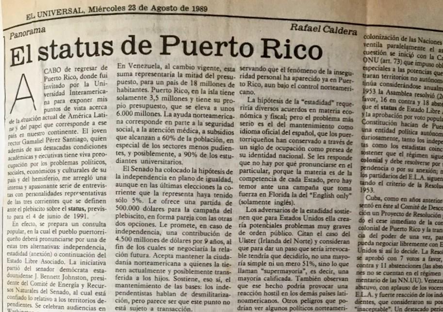 El status de Puerto Rico