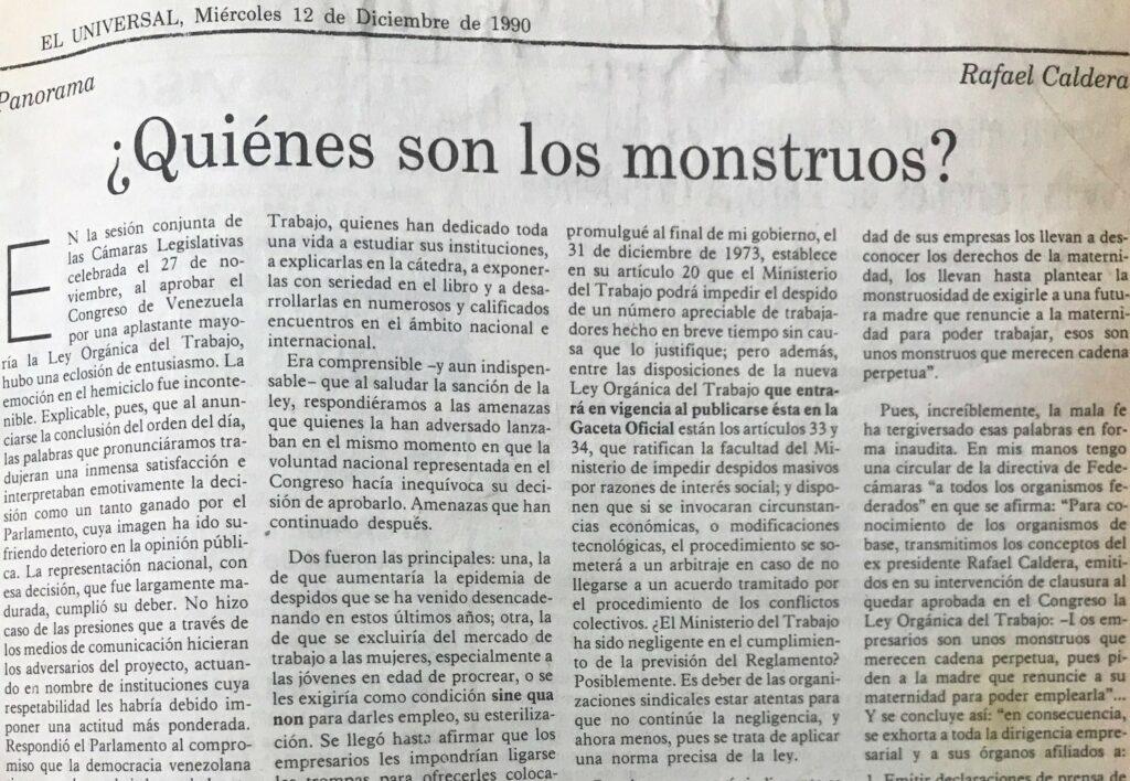 Artículo Rafael Caldera quiénes son los monstruos