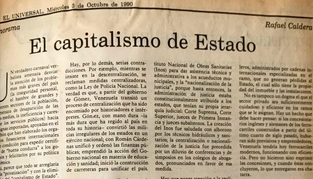 Artículo Rafael Caldera capitalismo de Estado