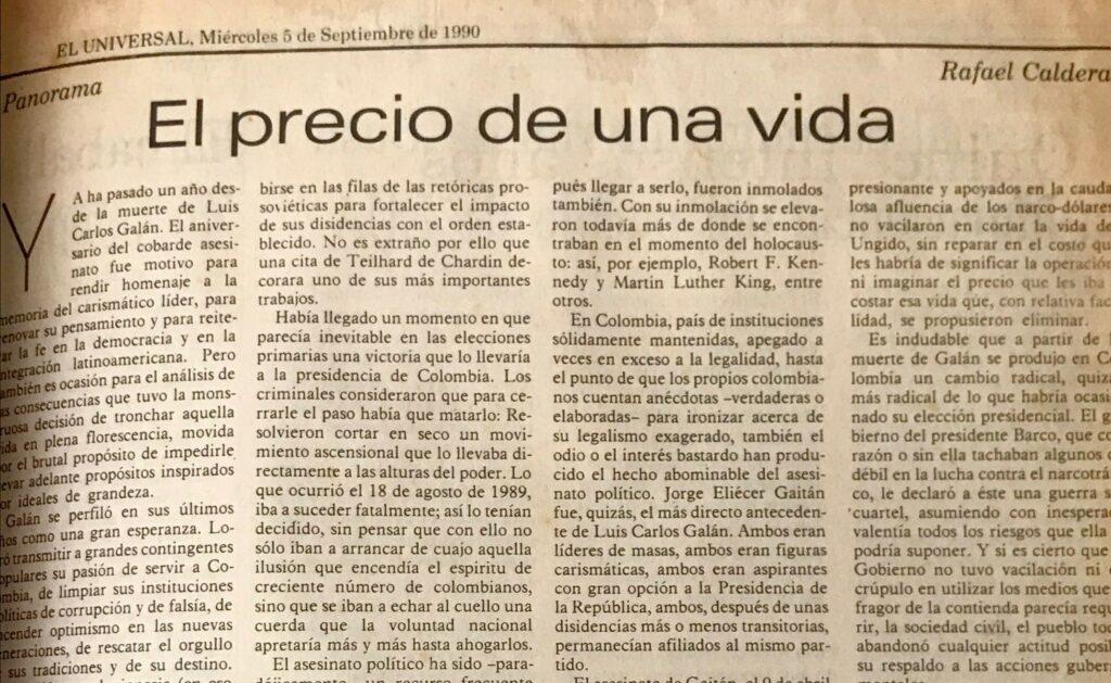 Artículo sobre Luis Carlos Galán