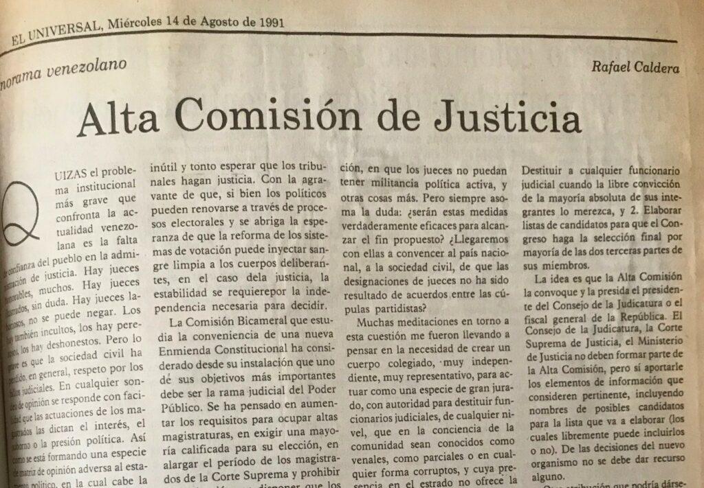 Artículo Rafael Caldera Alta Comisión de Justicia