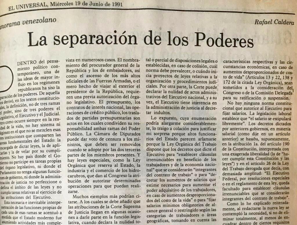La separación de los poderes, artículo de Rafael Caldera