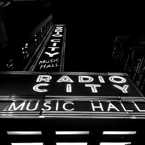 black and white photo of radio city music hall in New York City